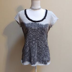 WHBM black and gray t-shirt